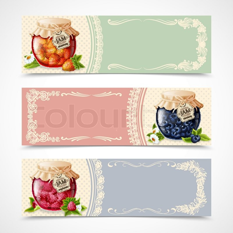 Natural organic forest berry jam in glass jar banners set for Bookmark creator jar
