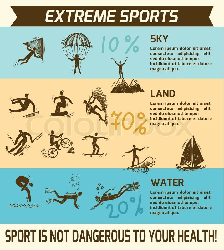 Extreme sky land water sports sketch infographic vector illustration, vector
