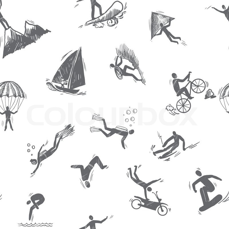 Extreme sports icon sketch seamless pattern of snorkeling surfing climbing vector illustration, vector