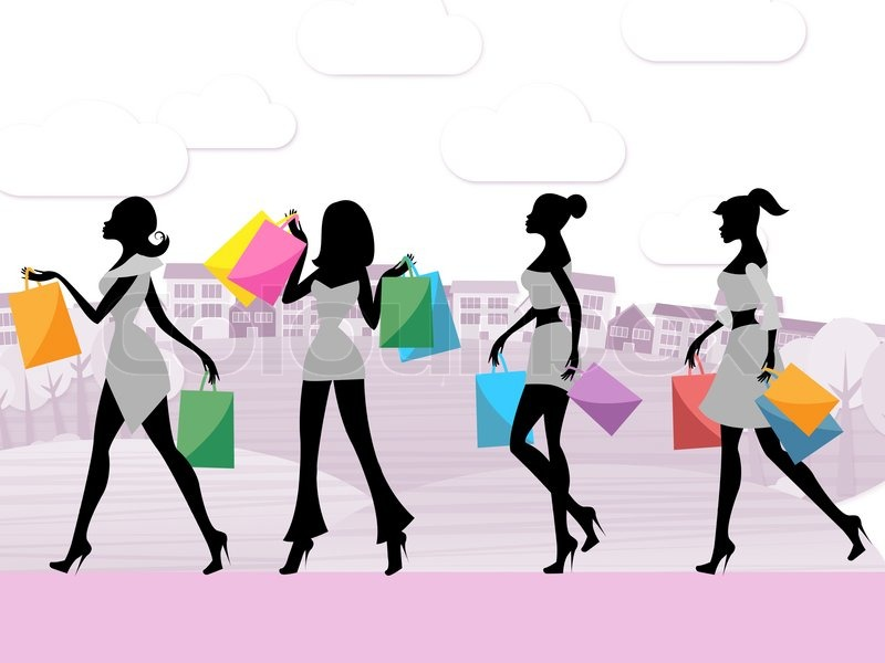 Women Shopping Shows Commercial Activity And Adult, stock photo