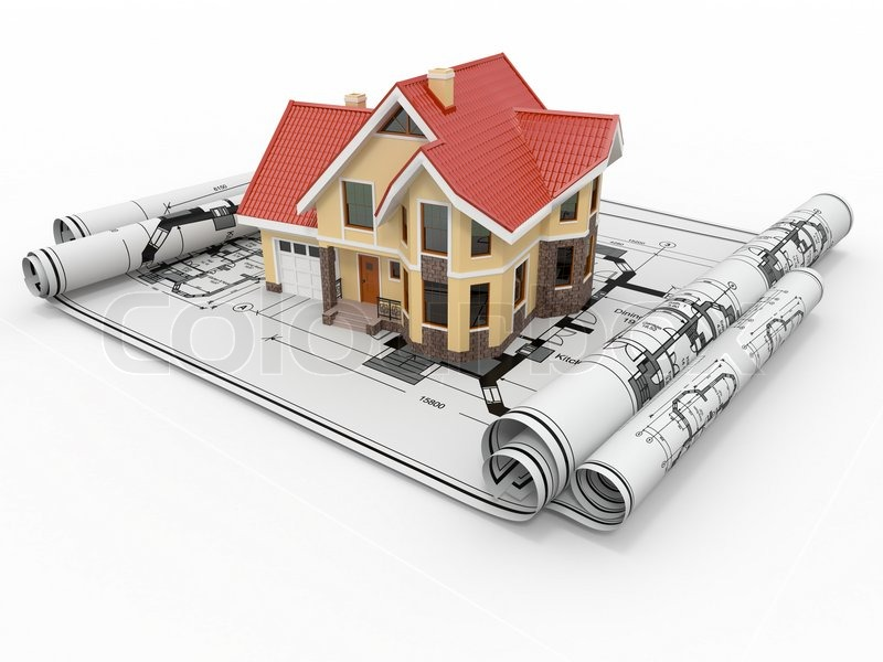 Residential House On Architect Blueprints Housing Project 3d Stock Photo