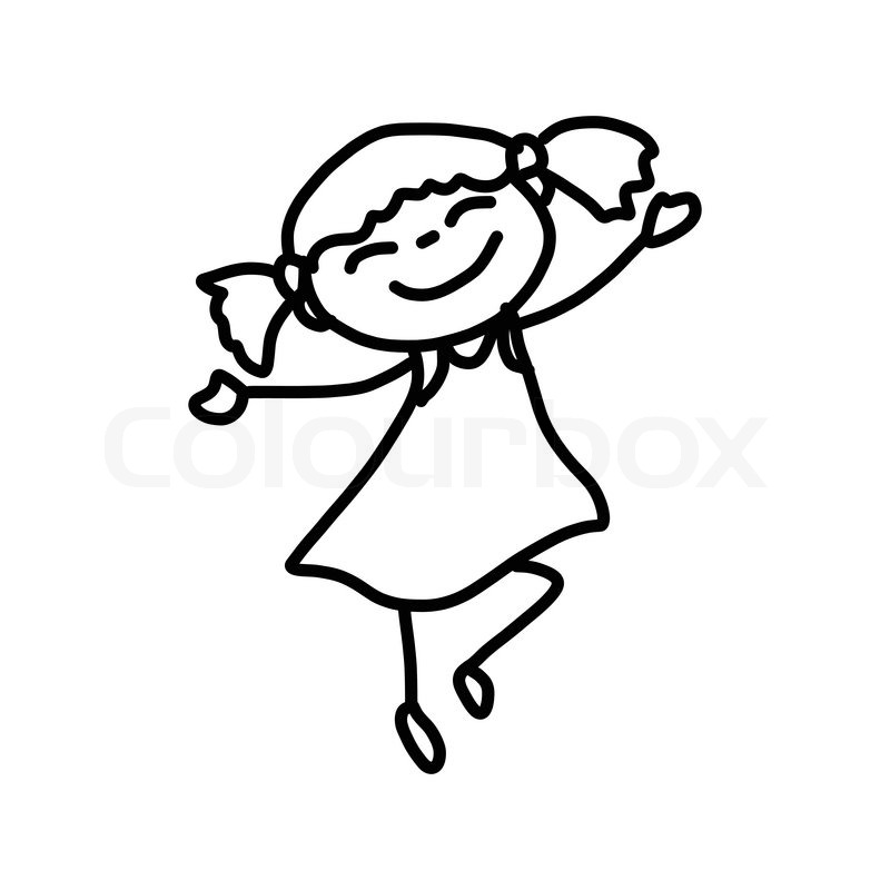Hand drawing cartoon character happy ... | Stock vector ...