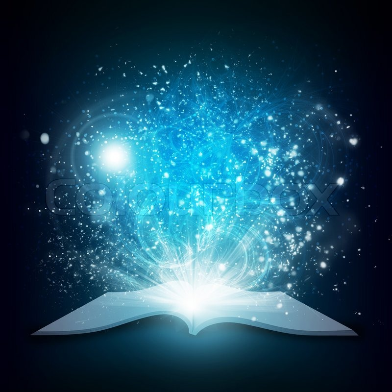 Light Book Adorable Old Open Book With Magic Light And Falling Stars Dark Background