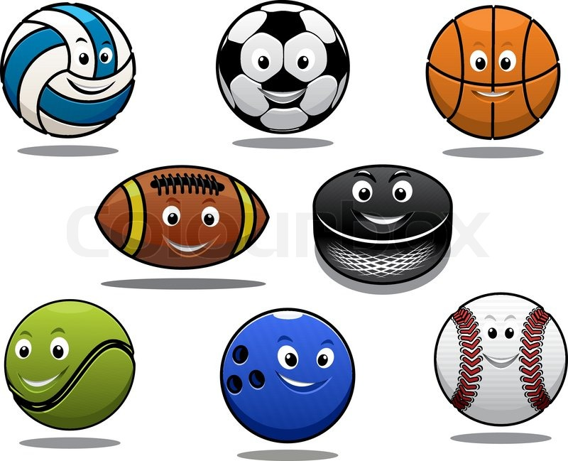 Color Sport Background Football Basketball Hockey Stock: Set Of Cartoon Sports Balls Equipment ...