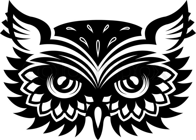 Black And White Wise Old Horned Owl Stock Vector Colourbox