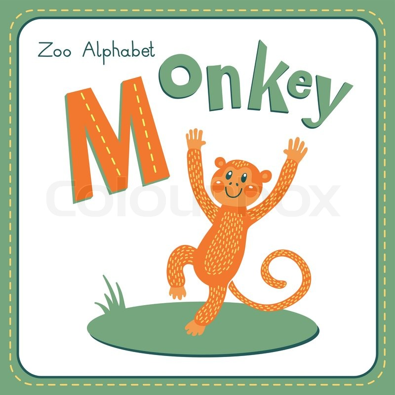 letter m - monkey. alphabet with cute animals. vector illustration