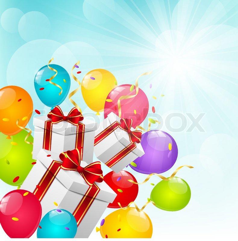geschenke mit ballons auf sonnigen hintergrund vektorgrafik colourbox. Black Bedroom Furniture Sets. Home Design Ideas