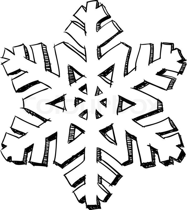 Schneeflocke skizze stockfoto colourbox - Dessin flocon de neige simple ...