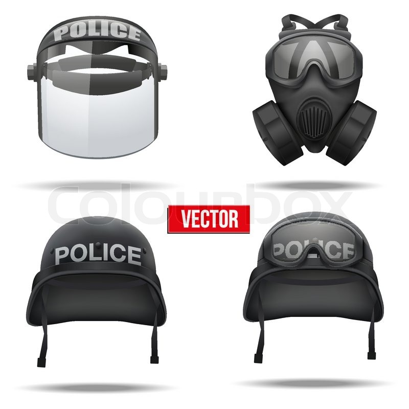 Set Of Police Helmets And Mask Vector Illustration Army Symbol Of