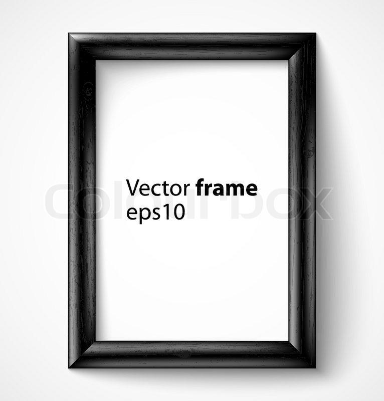 Schwarz Holz rechteckig 3d Bilderrahmen mit Schatten | Vektorgrafik ...