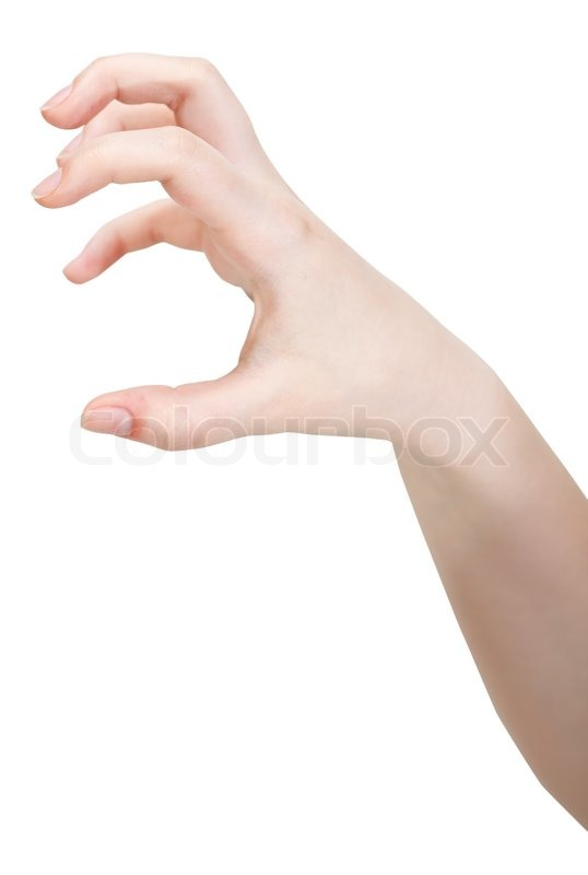 Side view of open claws palm - hand gesture isolated on white ...