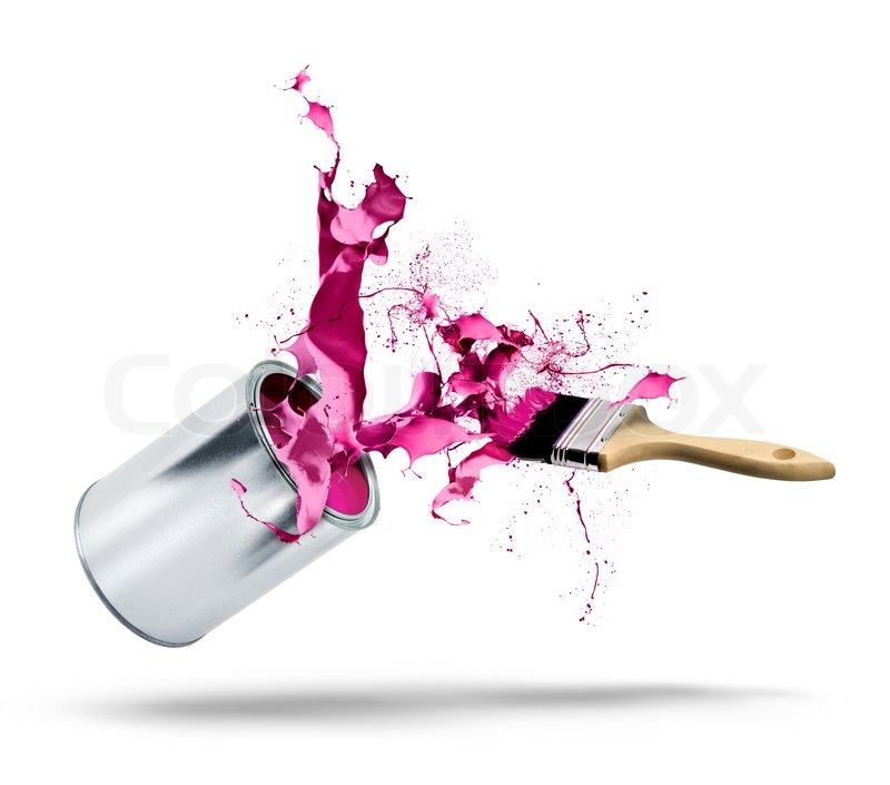 eimer farbe f llt farbe splash stockfoto colourbox. Black Bedroom Furniture Sets. Home Design Ideas