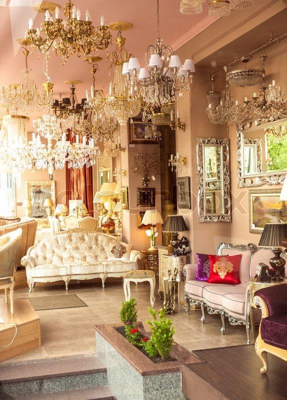 klassische franz sische einrichtung mit spiegel lampen und sofas stockfoto colourbox. Black Bedroom Furniture Sets. Home Design Ideas