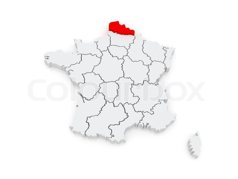 Karte von Nord-Pas-de-Calais. ... | Stock Bild | Colourbox on