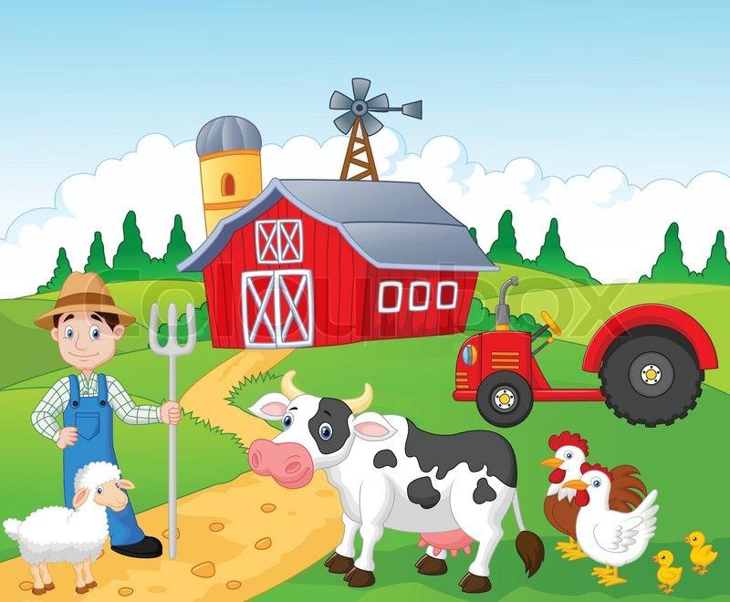 vector illustration of cartoon farmer working in the farm stock