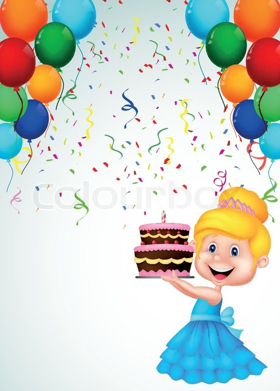 Vector Illustration Of Little Girl Cartoon With Birthday
