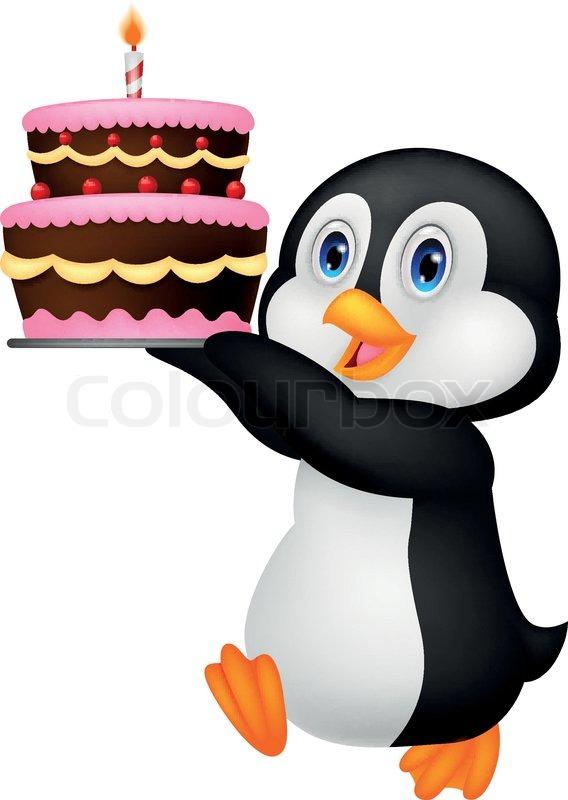 Niedlichen Pinguin Cartoon Halt Geburtstagstorte Vektorgrafik