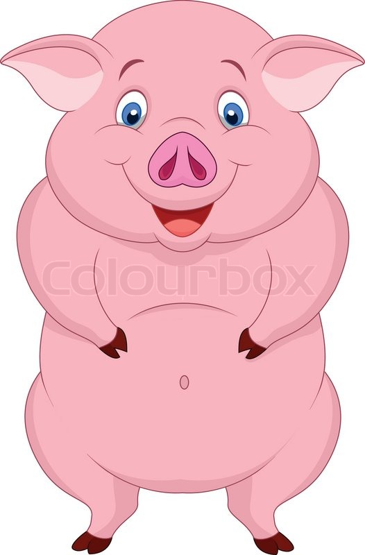 vector illustration of fat pig cartoon stock vector colourbox rh colourbox com fat little pig cartoon fat pig cartoon images