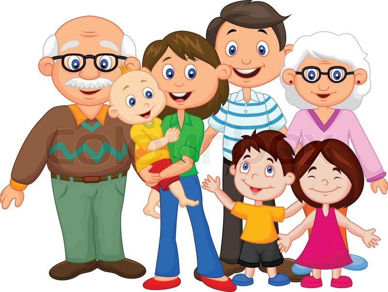 Vector illustration of Happy cartoon family, vector
