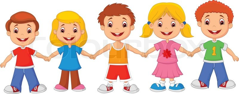 stock vector of vector illustration of little children cartoon holding hands