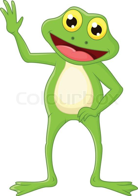Niedliche Cartoon Grün Frosch Hand Vektorgrafik Colourbox