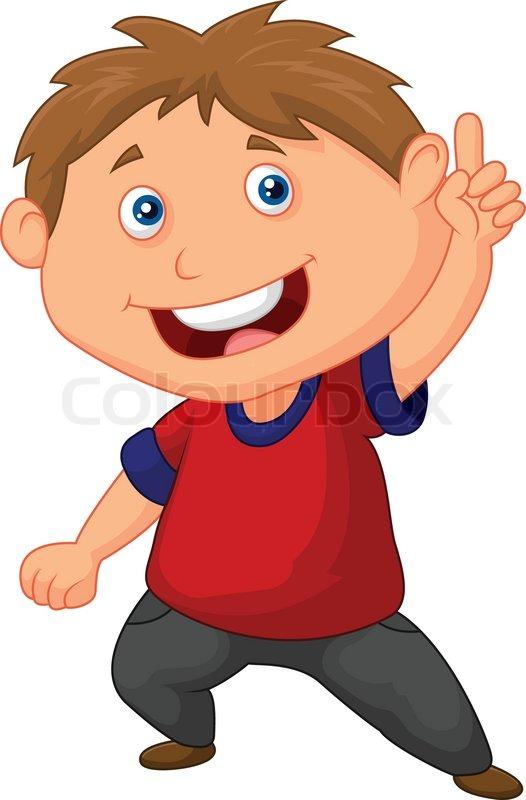 vector illustration of little boy cartoon pointing with the finger rh colourbox com little cartoon boy holding yellow sign logo little boy cartoon character