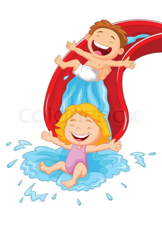 Vector illustration of Happy children cartoon on water ...