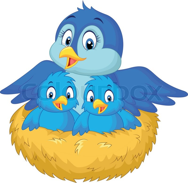 Vector illustration of Cartoon Mother bird with her two ...
