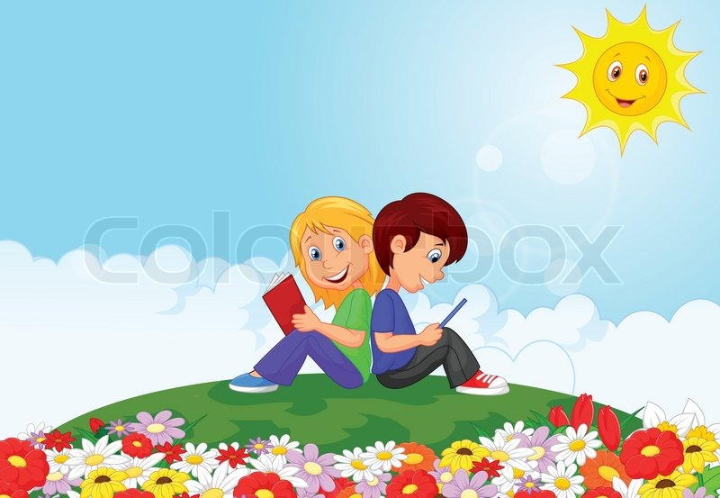 vector illustration of cartoon boy and girl reading book in the