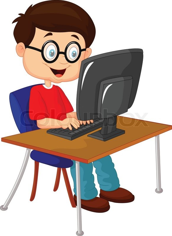Vector Illustration Of Kid Cartoon With Personal Computer