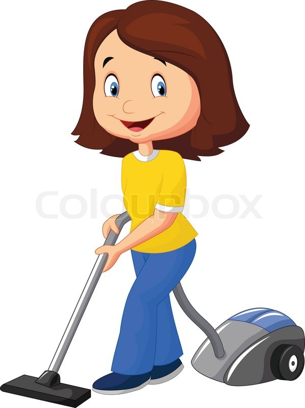 Car Floor Carpet >> Vector illustration of Mom cartoon with vacuum cleaner | Stock Vector | Colourbox