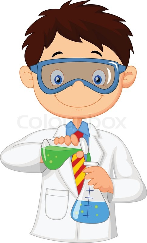 Vector illustration of Boy cartoon doing chemical ...