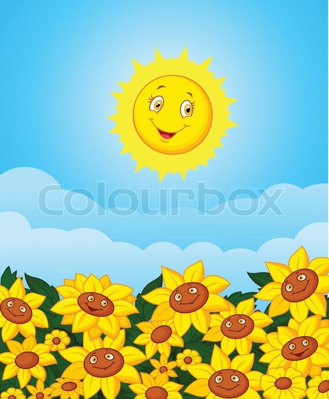 Vector Illustration Of Cartoon Sun Flower Field
