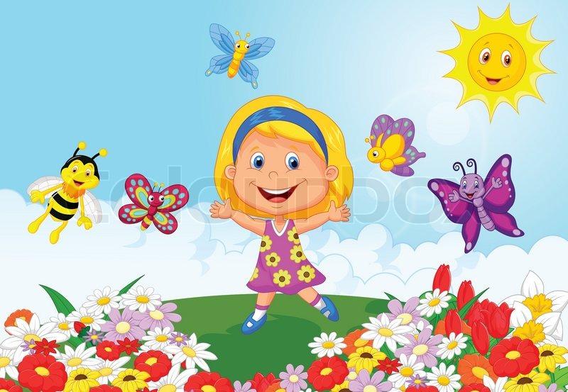 Vector Illustration Of Happy Little Girl Cartoon Running