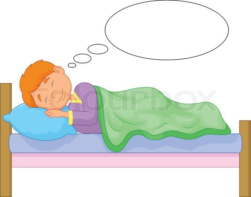Vector Illustration Of Cartoon Boy Sleeping