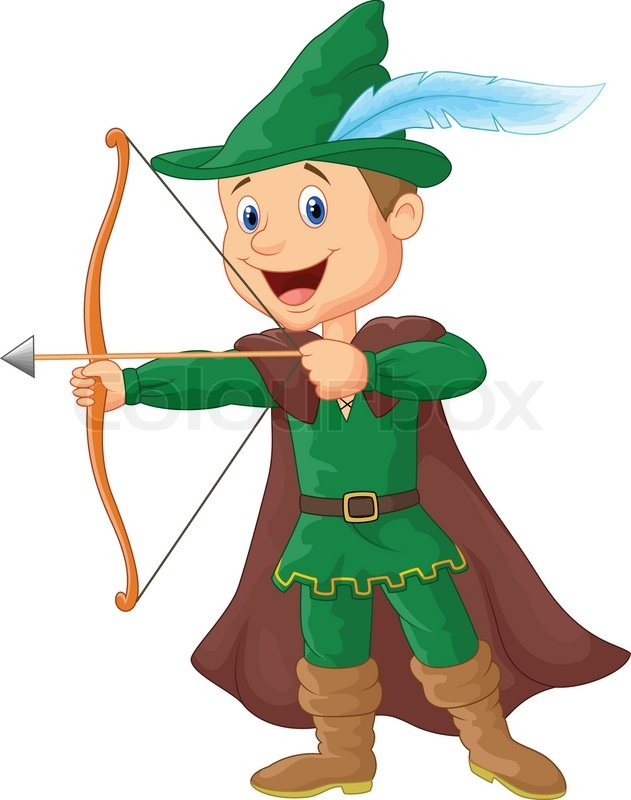 Vector illustration of robin hood cartoon stock