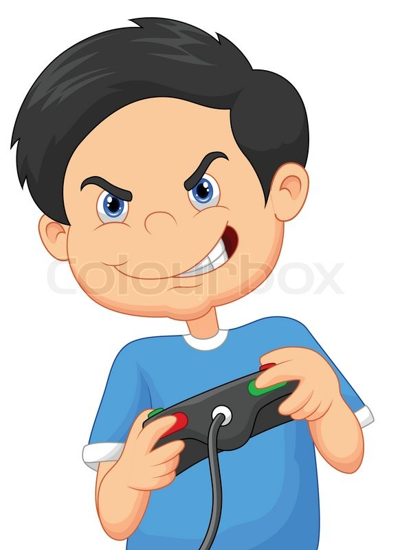 vector illustration of child cartoon plays games on video game console stock vector colourbox - Cartoon Picture Of A Child