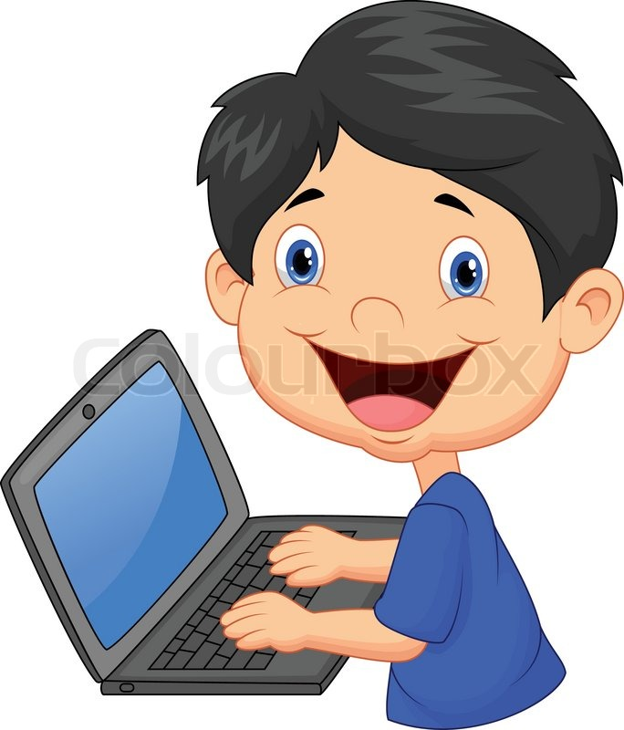 Vector Illustration Of Boy Cartoon With Laptop Stock
