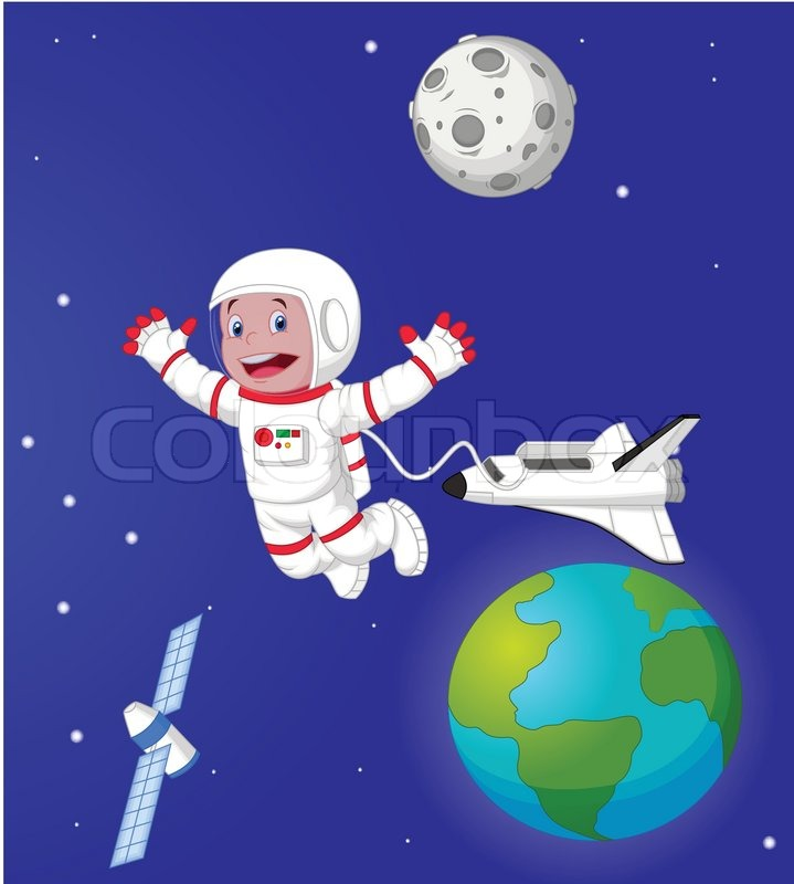 Vector illustration of the astronaut cartoon in outer for Jobs in outer space