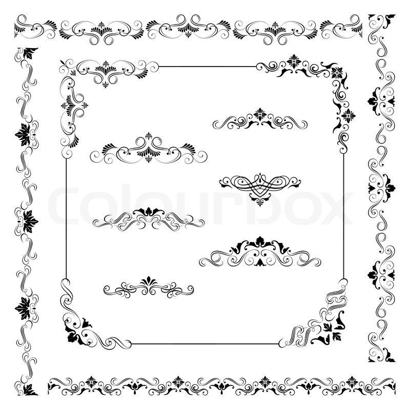 Set Of Vintage Vector Frame Border Divider Corner Retro Design Elements Collection Ornate Decor For Calligraphy