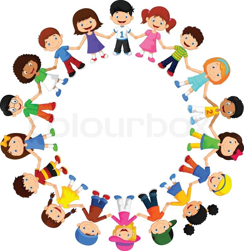 vector illustration of circle happy children cartoon different races stock vector colourbox
