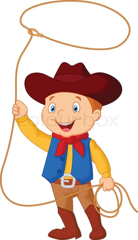vector illustration of cowboy kid cartoon twirling a lasso lasso clipart christian clipart lasso clipart border