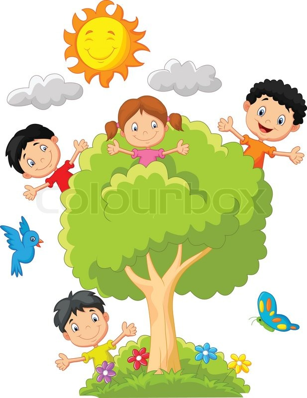 Vector illustration of Cartoon Kids playing on tree ...