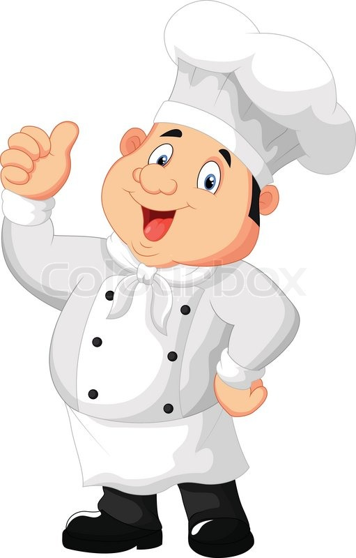 Vector illustration of chef cartoon giving thumb up for Job cuisinier