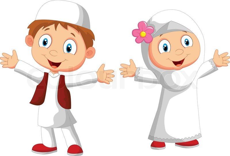 Vector Illustration Of Happy Muslim Kid Cartoon Stock Vector