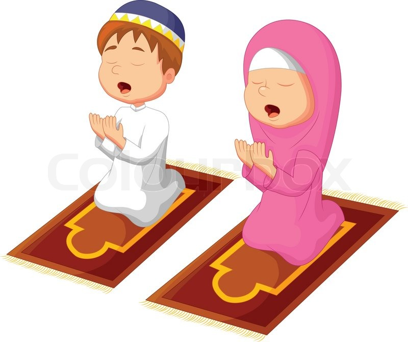 Vector illustration of Muslim kid cartoon praying | Stock ...
