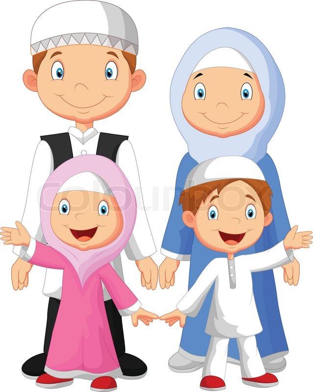 Vector Illustration Of Happy Muslim Family Cartoon Stock