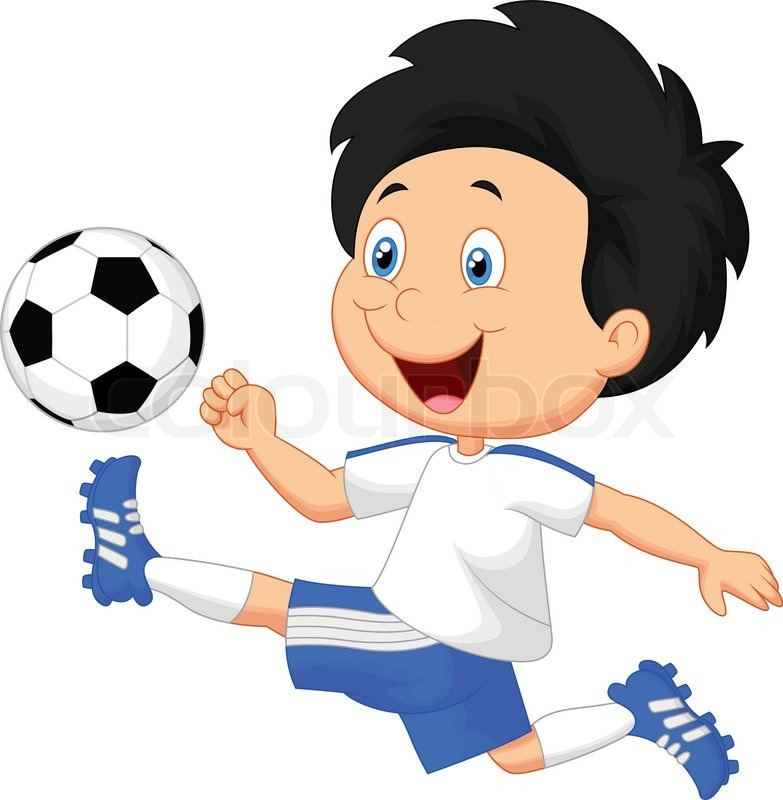 vector illustration of cartoon boy playing football stock vector colourbox