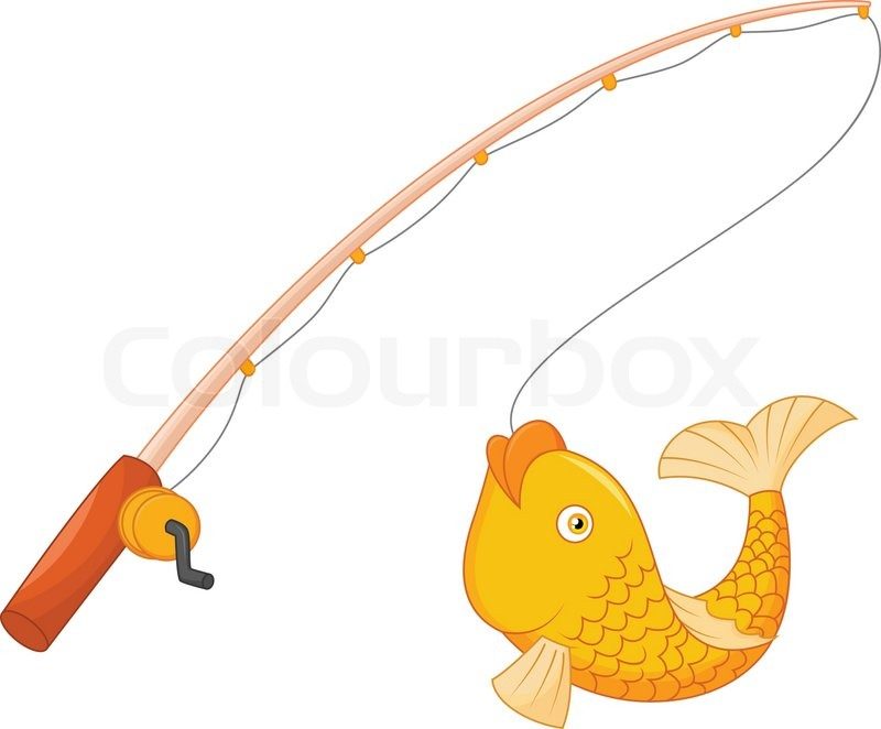 Vector illustration of cartoon fishing pole with hook and for How many fishing rods per person in texas
