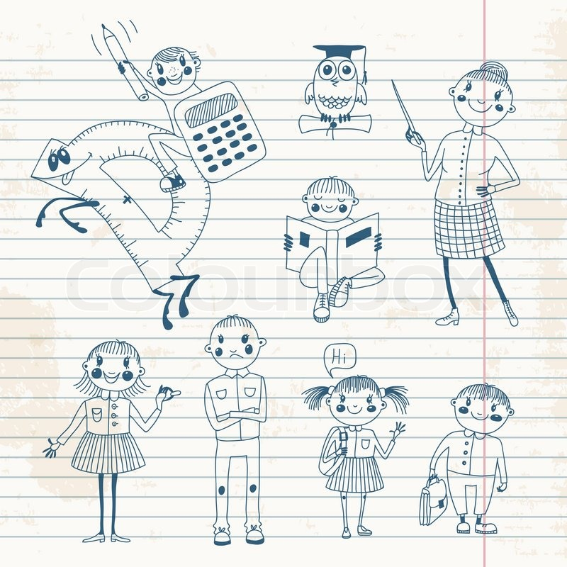 Hand gezeichnete Lehrer und Schüler. | Vektorgrafik | Colourbox